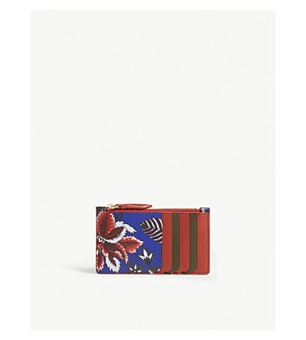 DIANE VON FURSTENBERG Printed leather card holder (Canton+electric+blue