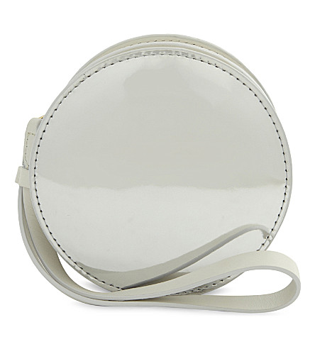 DIANE VON FURSTENBERG Metallic leather circle coin purse (Silver