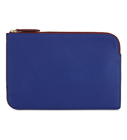 DIANE VON FURSTENBERG Two-tone leather pouch (Electric+blue/deep+fig
