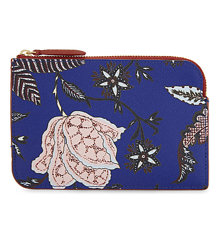 DIANE VON FURSTENBERG Floral leather pouch (Canton+electric+blue