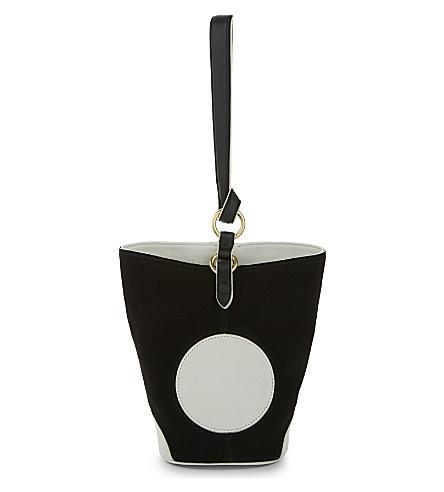 DIANE VON FURSTENBERG Steamer suede and leather bucket bag (Black/ivory
