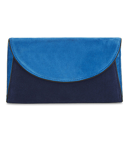 DIANE VON FURSTENBERG Two-tone suede evening clutch (Tile+blue/midnight/black