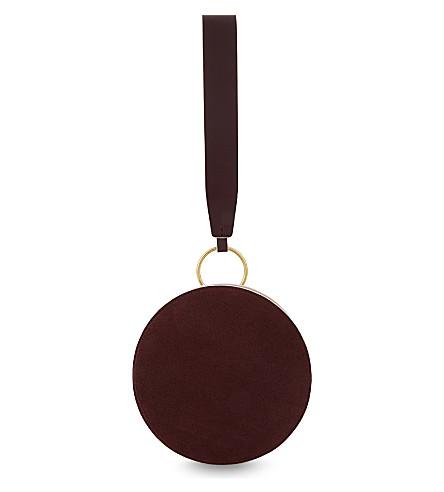 DIANE VON FURSTENBERG Circle leather and suede clutch (Red+wine/petal