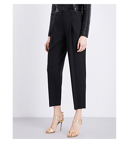 DIANE VON FURSTENBERG Pleated straight stretch-wool trousers (Black