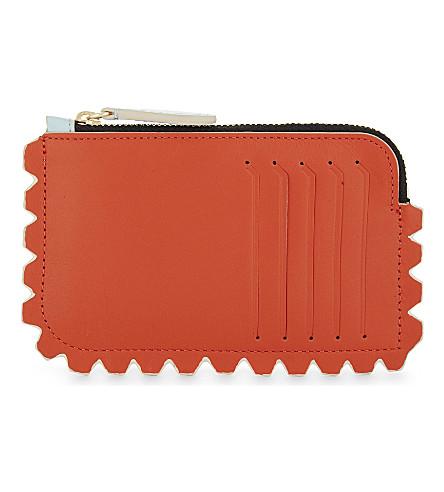 DIANE VON FURSTENBERG Scalloped leather card holder (Bold+red/ice+blue