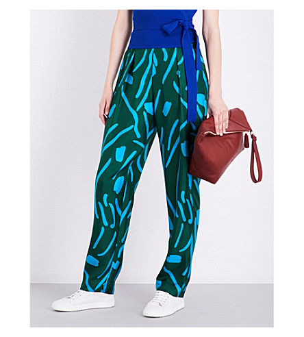 DIANE VON FURSTENBERG Stripe-print high-rise silk-twill trousers (Bottle+green