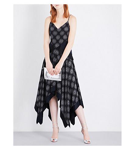 DIANE VON FURSTENBERG Abstract-print handkerchief-hem silk dress (Fenton+bk+alex+navy