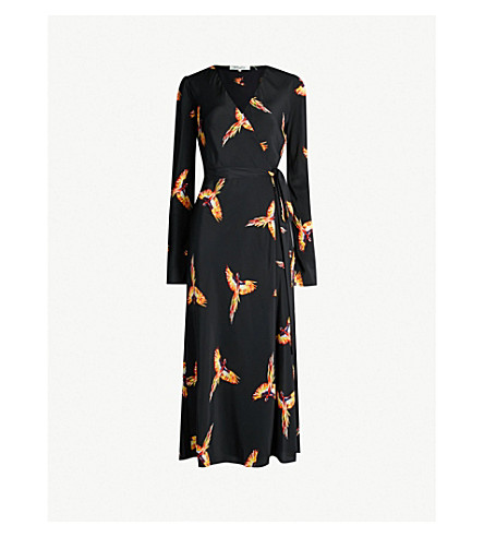 DIANE VON FURSTENBERG Printed silk-crepe wrap dress (Aurora+black