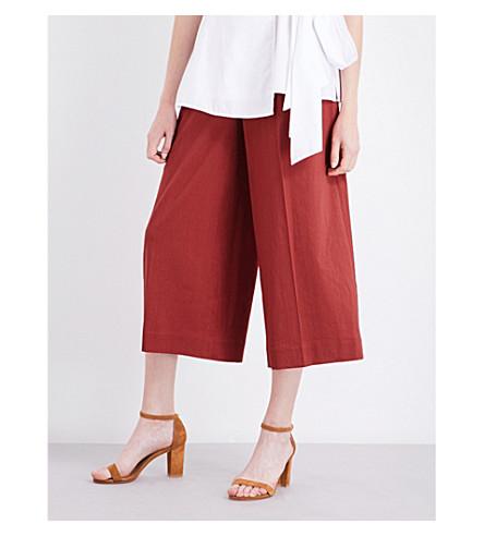 DIANE VON FURSTENBERG Wide high-rise linen-blend culottes (Cinnabar
