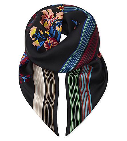 DIANE VON FURSTENBERG Bournier silk square scarf (Bournier+black