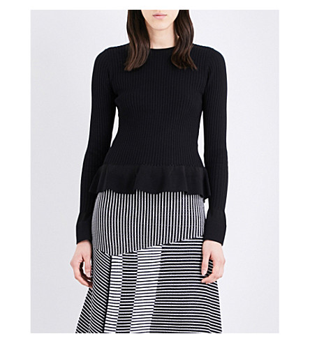 DIANE VON FURSTENBERG Peplum knitted sweater (Black