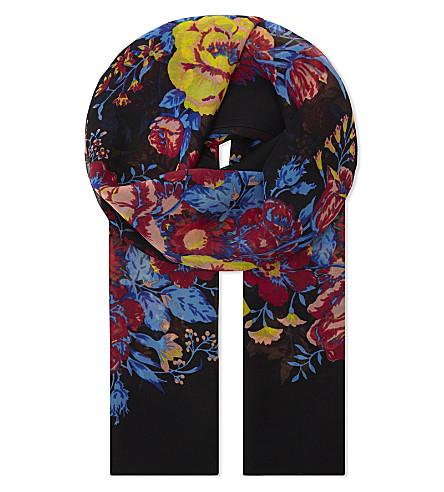 DIANE VON FURSTENBERG Bournier silk chiffon scarf (Bournier+black