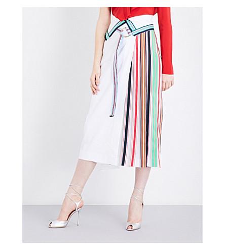 DIANE VON FURSTENBERG Stripe-panel high-rise linen-blend skirt (White+white