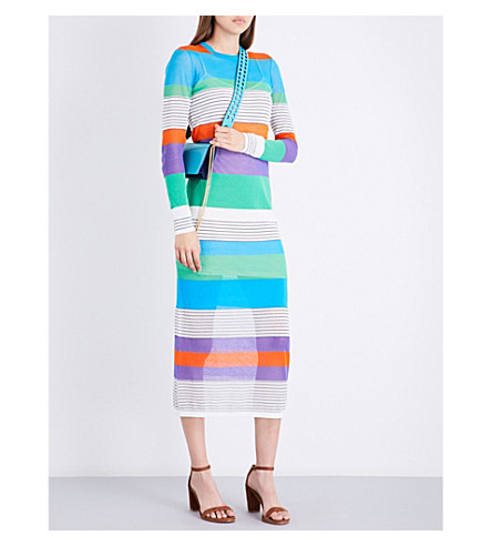 DIANE VON FURSTENBERG Colourblock striped knitted midi dress (Azuro+combo