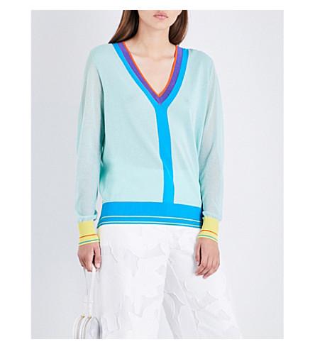 DIANE VON FURSTENBERG V-neck knitted jumper (Aqua+combo
