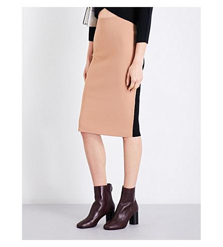 DIANE VON FURSTENBERG Knitted pencil skirt (Camel+black