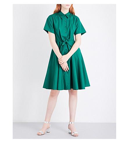 DIANE VON FURSTENBERG Knot-waist cotton-poplin shirt dress (Bottle+green