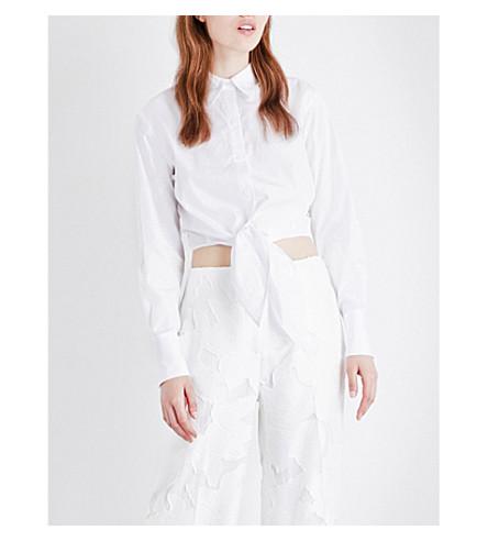 DIANE VON FURSTENBERG Self-tie hem cotton shirt (White