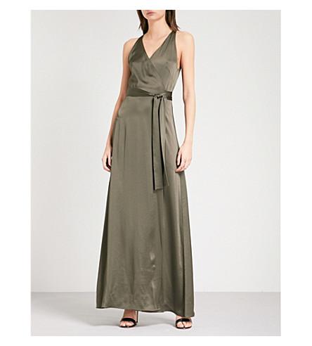 DIANE VON FURSTENBERG Belted satin wrap gown (Olive