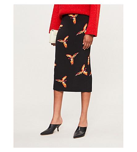 DIANE VON FURSTENBERG Leopard satin midi skirt (Aurora+black