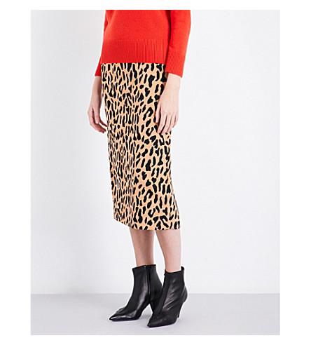 DIANE VON FURSTENBERG Leopard satin midi skirt (Belmont+camel