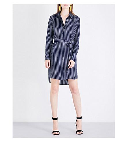 DIANE VON FURSTENBERG Collared silk-twill shirt dress (Larson+black