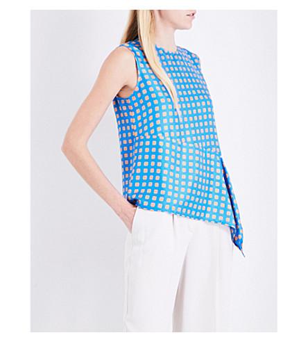 DIANE VON FURSTENBERG Geometric-print asymmetric-panel silk-twill top (Mura+tile+blue