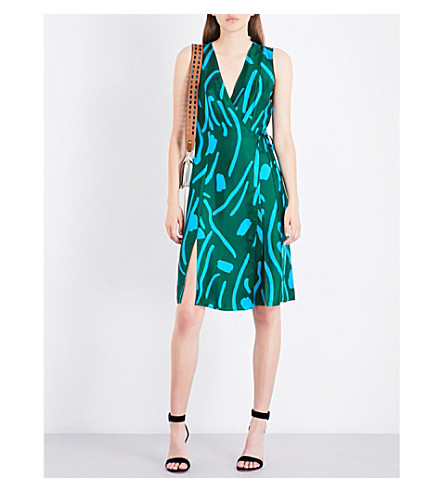 DIANE VON FURSTENBERG Abstract-pattern silk wrap dress (Bottle+green