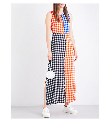 DIANE VON FURSTENBERG Gingham-panel stretch-silk maxi dress (Csr+l+b+rd/csr+l+k+bl