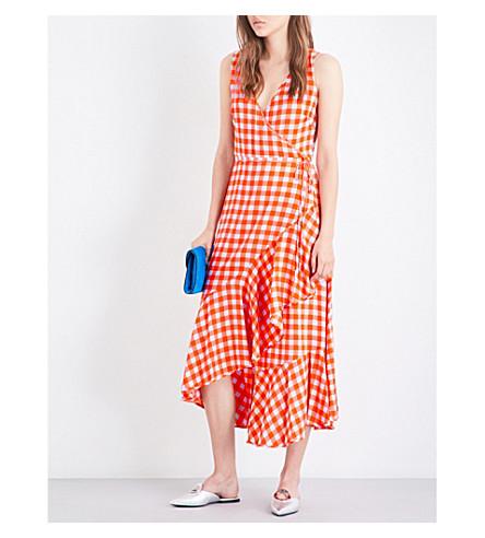 DIANE VON FURSTENBERG Gingham-print silk-crepe de chine dress (Cossier+large+bold+red