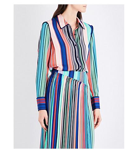 DIANE VON FURSTENBERG Printed stretch-silk shirt (Burman+stripe/mdnght