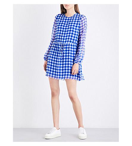 DIANE VON FURSTENBERG Gingham-print silk-chiffon dress (Cossier+large+klein+blue
