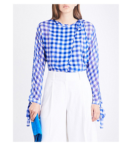DIANE VON FURSTENBERG Gingham-print silk-chiffon top (Cossier+large+klein+blue