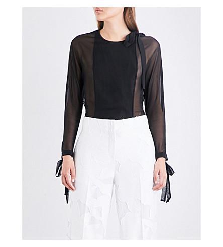 DIANE VON FURSTENBERG Self-tie silk-chiffon top (Black/black