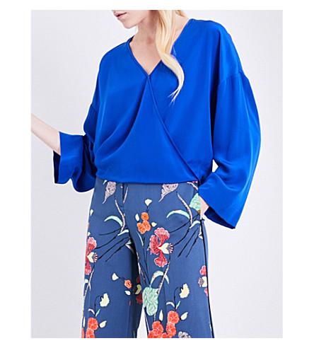 DIANE VON FURSTENBERG Wrap silk-crepe blouse (Klein+blue