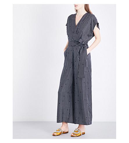 DIANE VON FURSTENBERG V-neck silk-twill jumpsuit (Larson+black