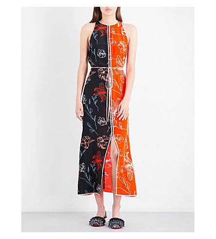 DIANE VON FURSTENBERG Floral-print contrast-panel silk-crepe de chine maxi dress (Fen+bl/bld+rd/peony