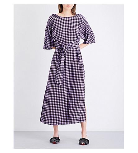 DIANE VON FURSTENBERG Gingham-print silk-crepe de chine midi dress (Cossier+small+violet