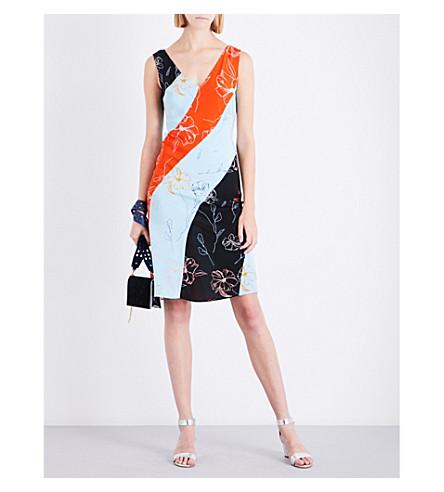 DIANE VON FURSTENBERG Bias silk midi dress (Fen+bk/ice/pelier+b