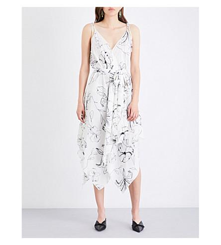DIANE VON FURSTENBERG Floral-print scarf silk-crepe de chine midi dress (Pelier+ivory