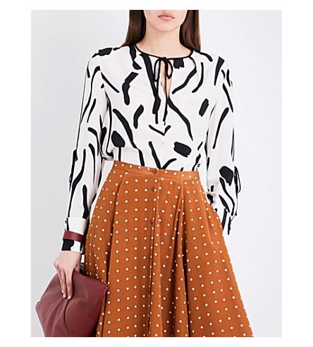 DIANE VON FURSTENBERG Abstract-print silk blouse (Black