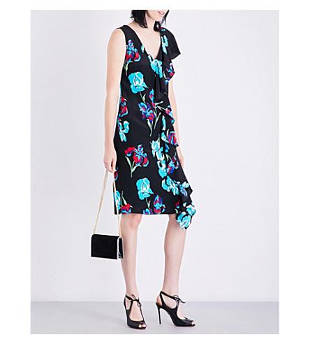 DIANE VON FURSTENBERG Ruffled floral-print silk-crepe and satin dress (Ainsworth+black/black