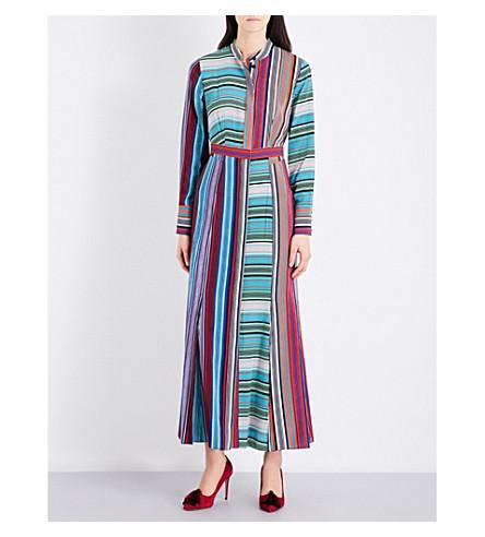 DIANE VON FURSTENBERG Striped silk-crepe shirt dress (Conght+st+br/cn+st+b