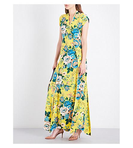 DIANE VON FURSTENBERG Floral bias-cut silk maxi dress (Bournier+acid+yellow