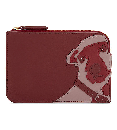 DIANE VON FURSTENBERG Dog appliqué leather pouch (Deep+fig