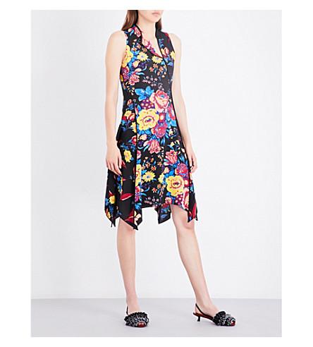 DIANE VON FURSTENBERG Floral bias-cut silk dress (Br+black/silese+black/bk