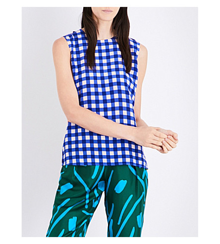 DIANE VON FURSTENBERG Patterned silk-twill top (Cossier+lr+klein+blue