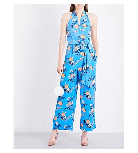 DIANE VON FURSTENBERG Floral halterneck silk jumpsuit (Silese+tile+blue