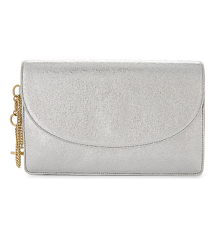 DIANE VON FURSTENBERG Saddle metallic leather clutch bag (Silver