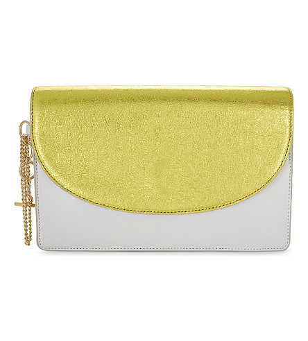 DIANE VON FURSTENBERG Saddle metallic leather clutch bag (Orchid+ivory